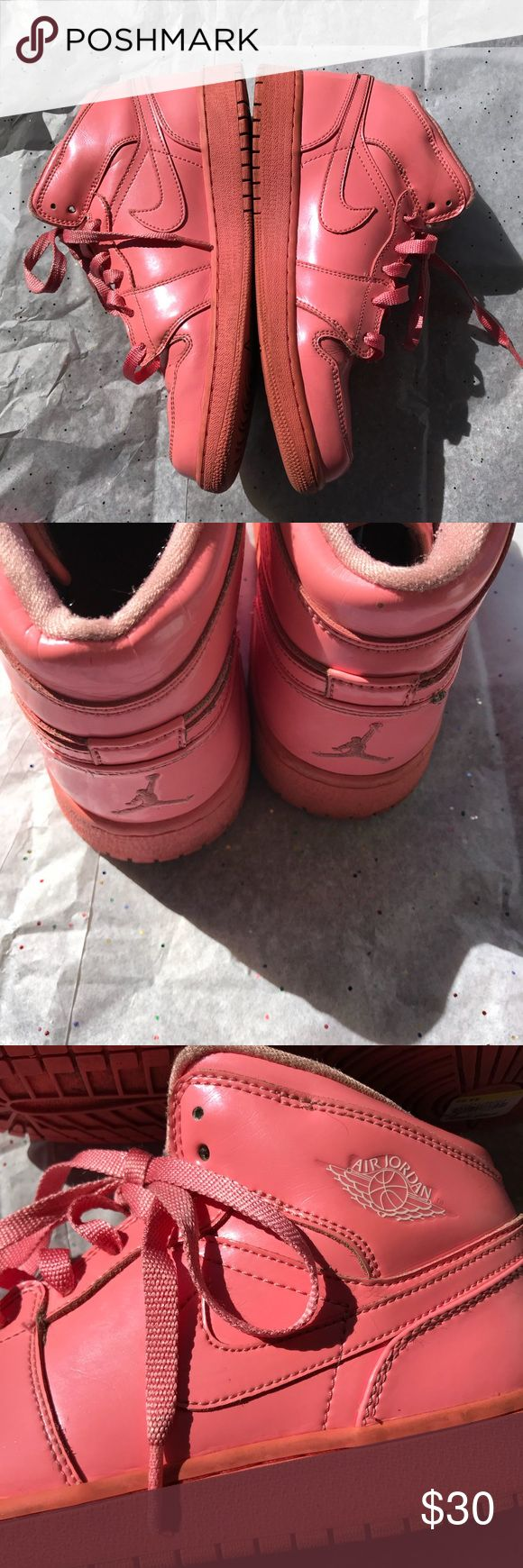 Women's pink nike air Jordan shoes size 9 Brand- Jordan- good used condition women's all pink Jordan tennis shoes size 9 (Youth7) solid pink with Jordan Logo on the tongue, heels, and sides. Good used condition- creasing at the toes and one tiny scuff mark on the side. Over all in decent condition and has tons of life left and are so girly and cute! Jordan Shoes Sneakers