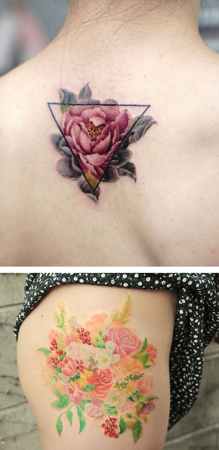 Watercolor tattoos by Aro Tattoo  body art | flower tattoos | watercolor flower tattoo | thigh tattoos | geometric tattoos