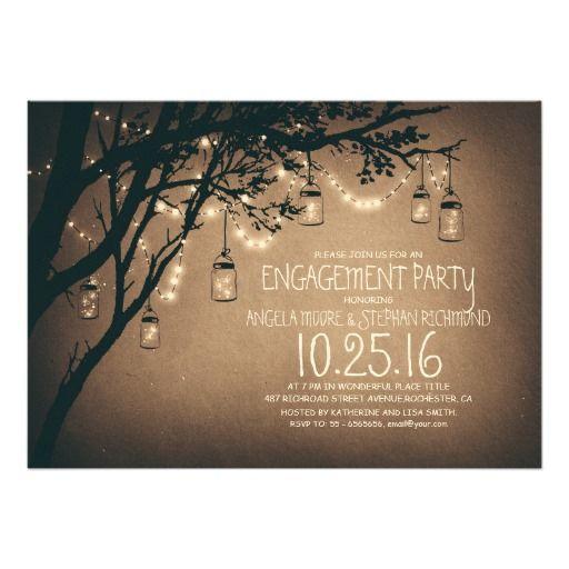string lights mason jars vintage engagement party