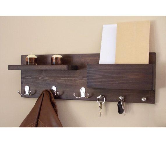entryway organizer coat hooks key hooks  large coat key rack key mail storage mail organizer wood wall organizer mail key storage coat rack
