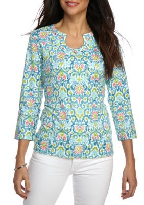 Ruby Rd Women's Petite Must Haves Tile Print Embellished Key Neck Top - Aqua Multi - Pxl