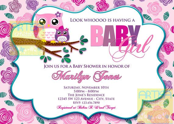 Pink Owl Baby Shower Invitation  Owl Baby Girl by artisacreations, $12.00