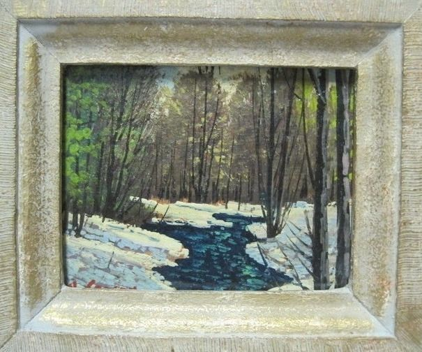 Auction item 'Small oil painting depicting a stream in winter' hosted online at 32auctions.
