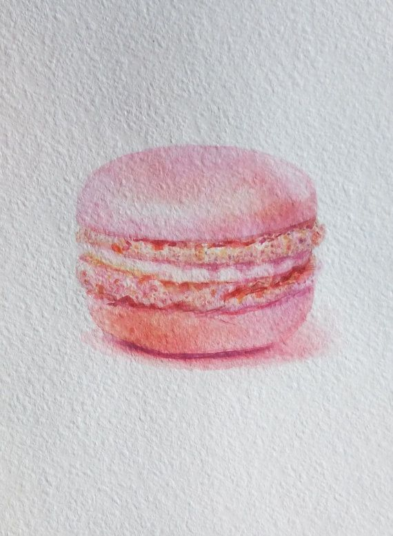 Macaron Watercolor Painting Dessert Illustration Food by Ksushop