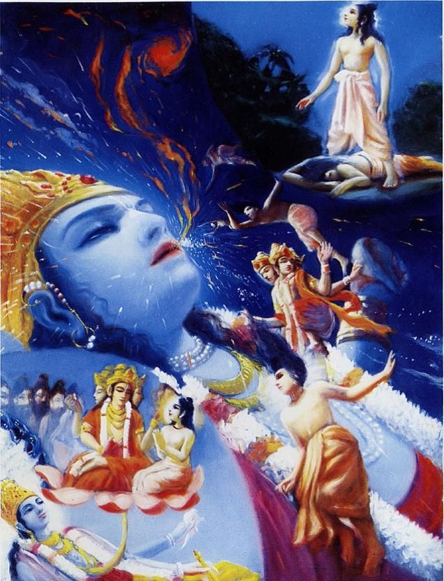 """SB 1.6.29 Narada: """"In due course of time I, who was fully absorbed in thinking of Kṛṣṇa and who therefore had no attachments, being completely freed from all material taints, met with death, as lightning and illumination occur simultaneously....At the end of the millennium, when the Personality of Godhead Lord Nārāyaṇa lay down within the water of devastation, Brahmā began to enter into Him along with all creative elements, and I also entered through His breathing."""""""