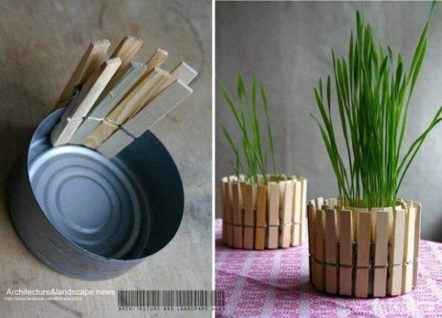 Clothespin + can = Flowerpot #diy