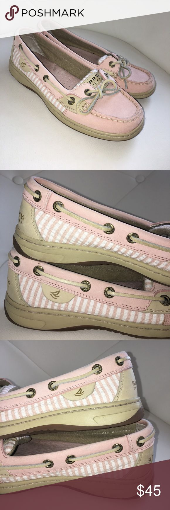 Pink and White Sperrys pink and white sperry boat shoes. in excellent condition but they have been worn a couple of times.  there is a small stain on the tongue of the right shoe that is shown in the last picture. Sperry Top-Sider Shoes Flats & Loafers
