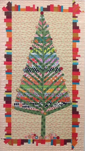 """Tree Pattern, 29 x 53"""", wall quilt by Laura Heine"""