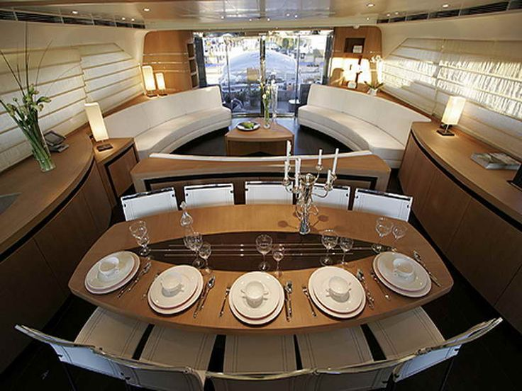 Planning Ideas Luxury Yacht Interior Design With Super Dinning Table Boating New Yachts 2012