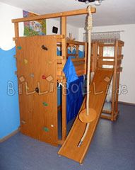 Rock Climbing wall instead of the traditional bunk ladder, brilliant!  Slide for the Loft Bed, Bunk Bed, ... | buy online | Billi-Bolli Kids Furniture