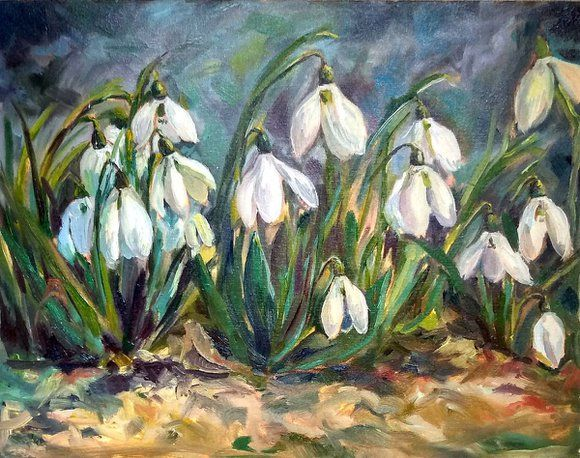 Snowdrops Floral Oil Painting 35x45 Cm Flower Art Painting Art