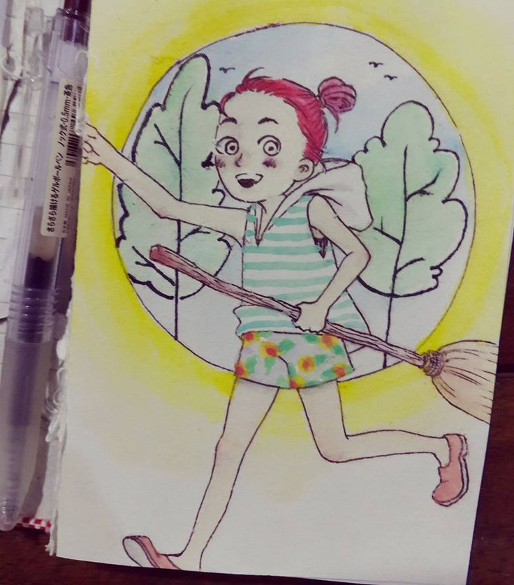 I always long for a world where flying with broomstick and red hair are normal. #drawing #watercolor #onpaper #girl