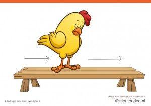 Bewegingskaarten kip voor kleuters 4, met ogen dicht lopen over de bank , kleuteridee.nl , thema Lente, Movementcards for preschool,  free p...