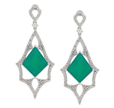 Tracey Bregman Green Onyx, Diamond & White Topaz Sterling Silver Drop Earrings