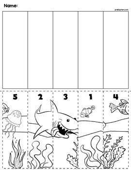 ocean scene number sequence puzzle my tpt store preschool worksheets sea activities ocean. Black Bedroom Furniture Sets. Home Design Ideas
