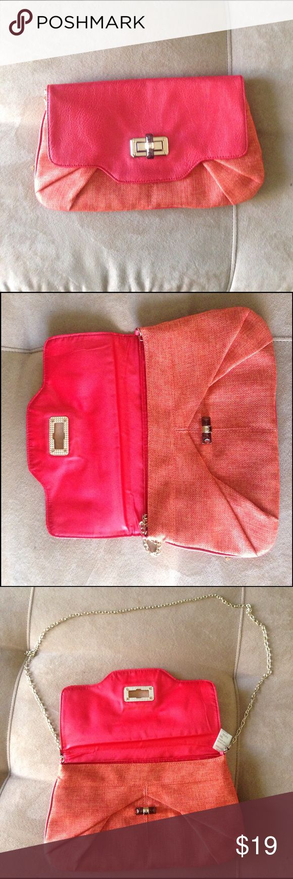 Orange canvas/ watermelon leather envelope clutch Great size for day or night.  Tortoise closure.  Gold chain shoulder strap.  Perfect for spring and year round.  12*6*.5 Bags Clutches & Wristlets