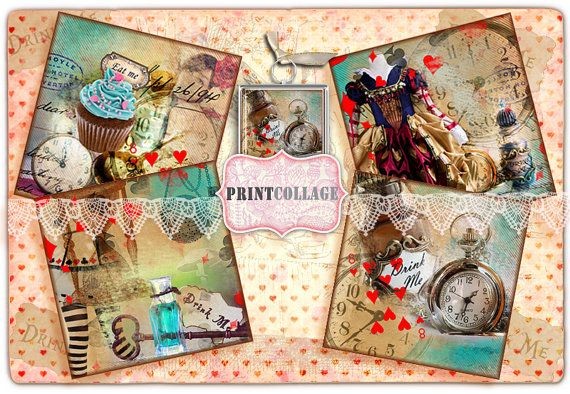 ALICE in WONDERLAND Instant Download PrintableCoaster  Coasters Set of 4 Printable Cards 4x4 inch  by PrintCollage