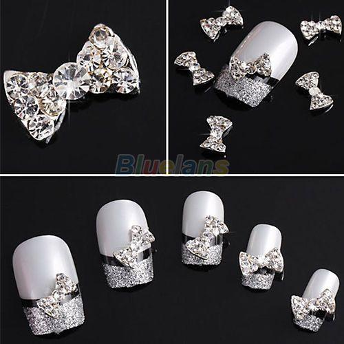 Lovely 10pcs 3D Clear Alloy Rhinestone Bow Tie Nail Art Slices DIY Decoration   eBay