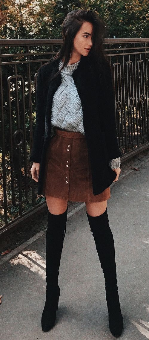 What to wear with over knee boots : coat sweater brown skirt