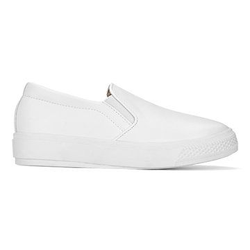 White vegan Leather Look Round Toe Slip-on Casual Loafers - US$47.95 -YOINS