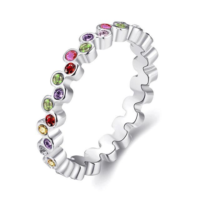 Kobiety Wedding Ring Lady Dziewczyna Party Biżuteria Biały/Złota Róża Kolor Kolorowe Austriackie Kryształowy Mody Palec Serdeczny Kobiet