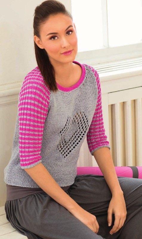 Вязаный спицами пуловер с рукавами реглан и сердечком  Источник: http://vse-vjazanie.ru/spicami/dlja-zhenshhin/pulovery/s-rukavami-reglan.html