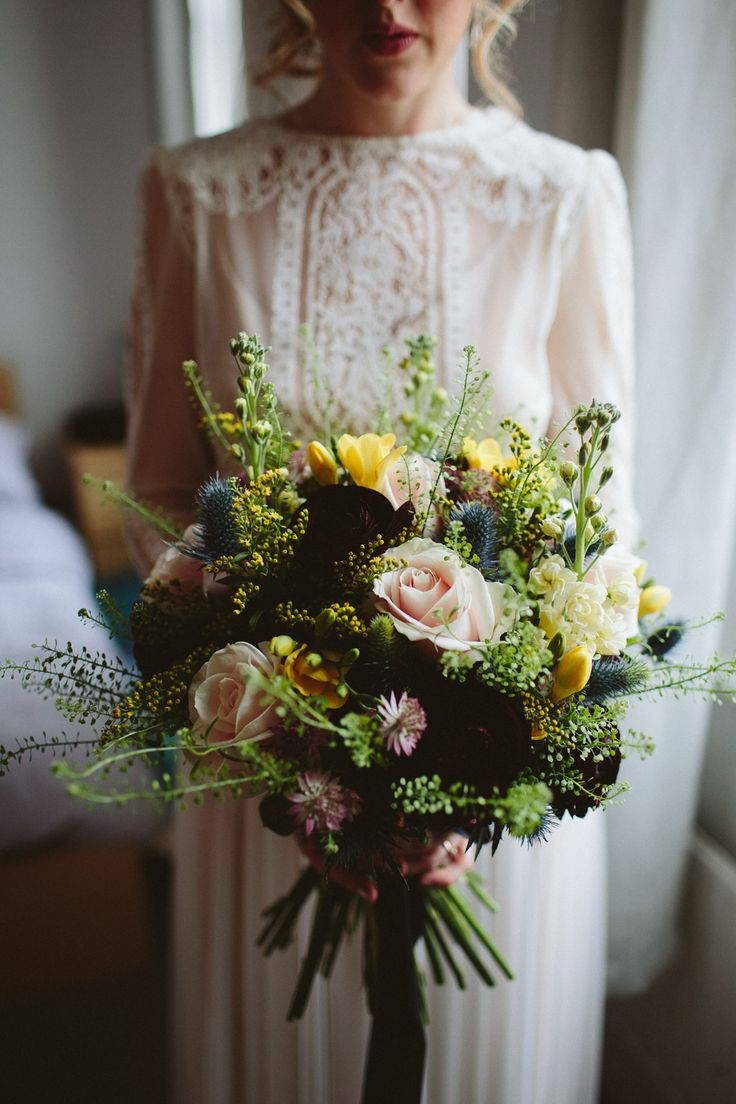 Bohemian Wedding Bouquet With Pinks and Yellows - Katya Katya Shehurina Wedding Dress For A Relaxed London Wedding At Islington Town Hall With A Reception At The Peasant Clerkenwell Images by Kate Gray