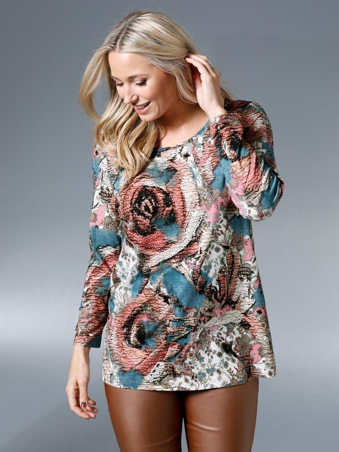 miamoda shirt auf der vorderseite mit dekosteinen happy size in