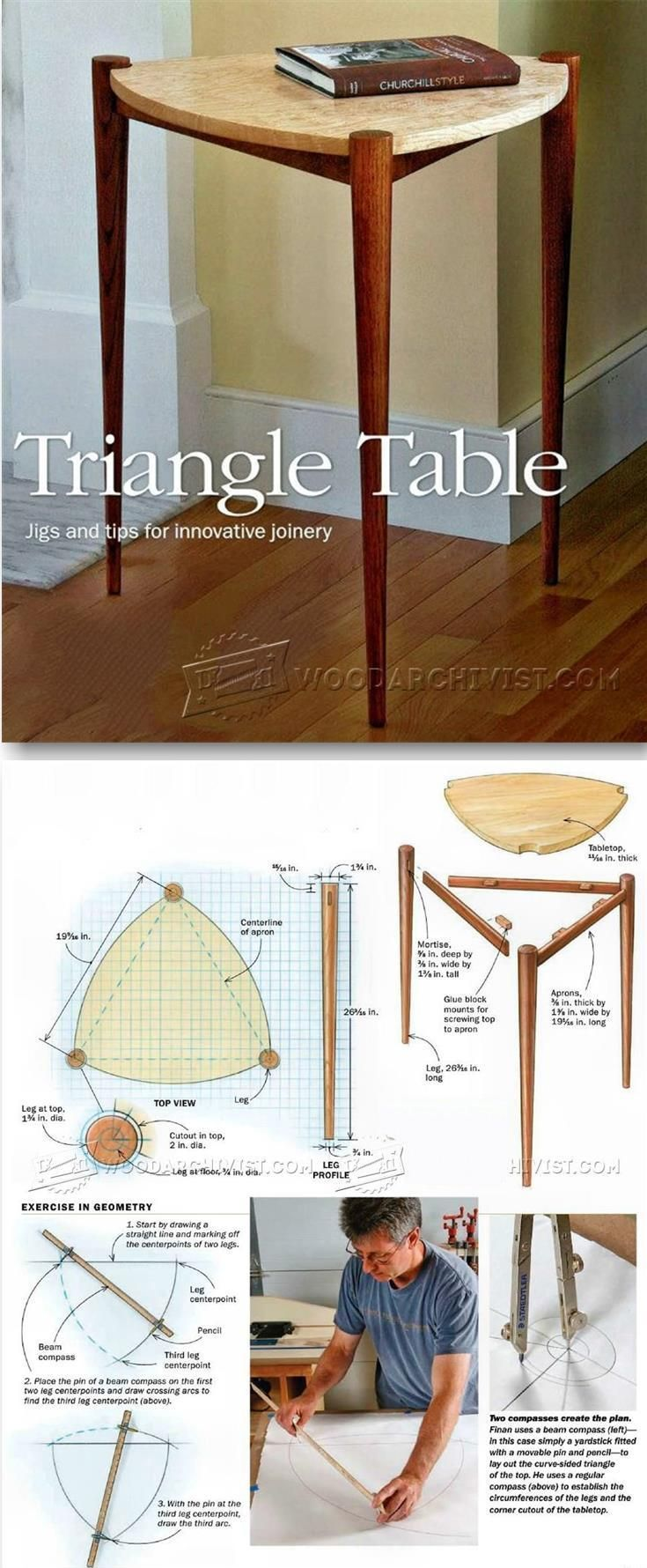 Triangle Table - Furniture Plans and Projects | WoodArchivist.com
