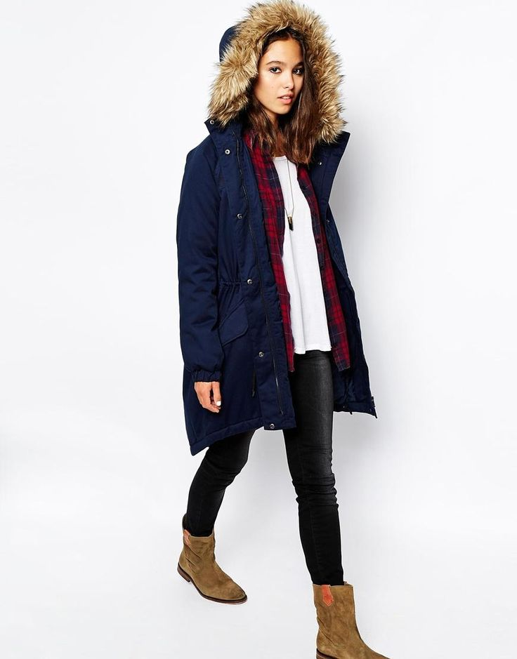 Only | Only Long Line Parka With Faux Fur Hood at ASOS