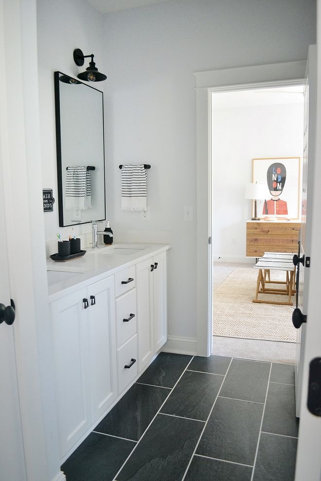 Tiling Is12x24 Black Tile With Brite White Perma Color Grout On The Floor Black Bathroom Floor Black Tile Bathrooms Black Bathroom