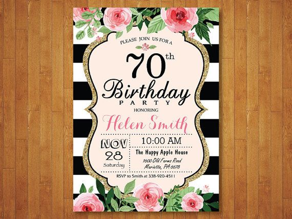 70th Birthday Invitation for Women. Pink by happyappleprinting
