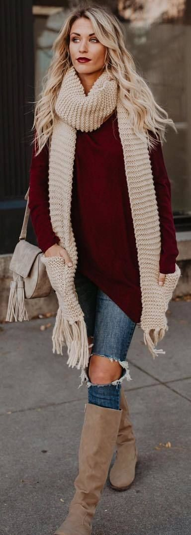 #fall #outfits red loose sweater beige scarf ripped jeans loots