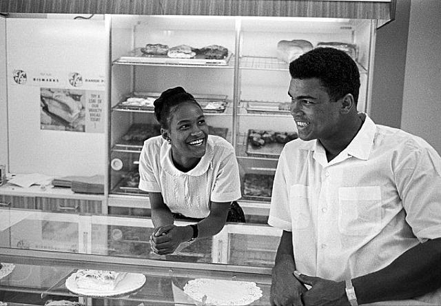 Muhammed Ali flirting in a bakery shop with the woman who later became his wife
