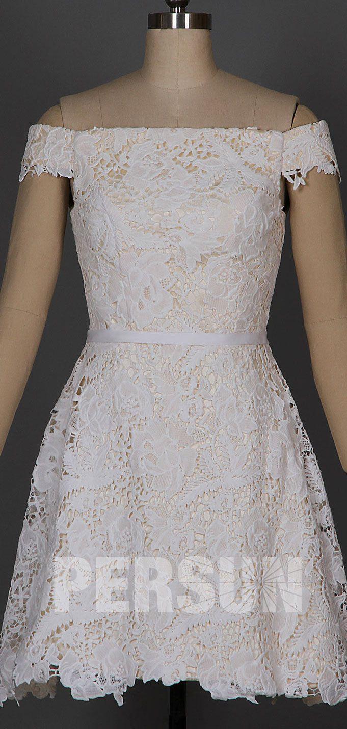 robe de soirée blanche courte épaule dénudé en dentelle 13033776c0a