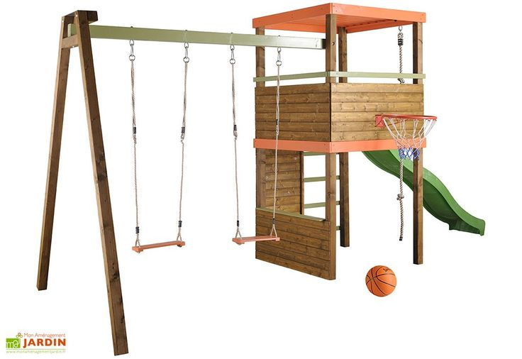 Portique Toboggan + Balançoire Bois+Mur d'Escalade+Corde+Panier Basket