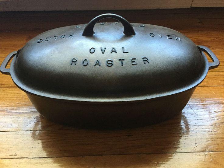 Griswold Cast Iron #5 Large Block Logo Dutch Oven Oval Roaster - No Trivet $199.00 BIN