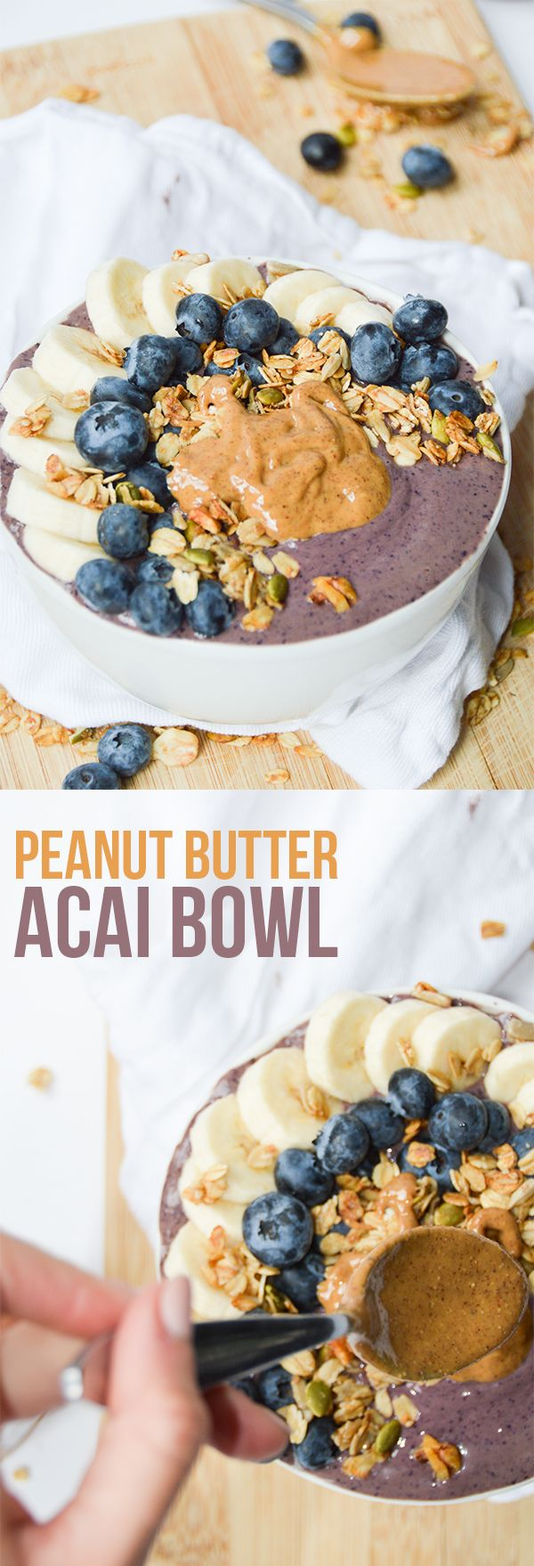 Peanut Butter Protein Acai Bowl - love smoothies but finish them feeling unsatisfied? Add some peanut butter, protein powder and a spoon for a refreshing but filling breakfast.