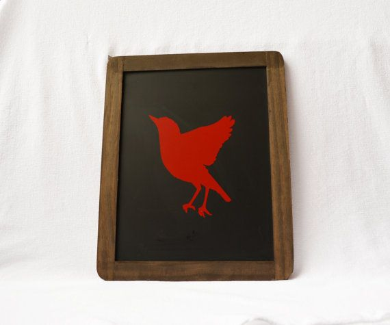 Red bird wood sign Red Bird Art Chalkboard by RusticBabyBoutique, $25.00 change to logger in blue