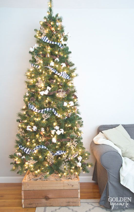 Neutral rustic Christmas tree with DIY Christmas tree stand box | The Golden Sycamore