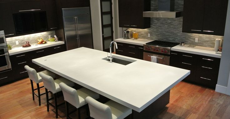 DIY Concrete Counters | I love these white concrete counters. Looks very high end but very affordable to make. <3