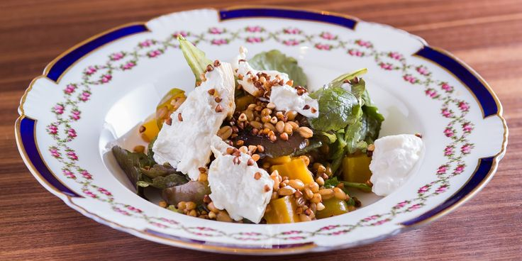 A delicious salad recipe from fusion chef Anna Hansen, with roasted golden beetroot and smoked burrata, toasted buckwheat and pickled greengages.