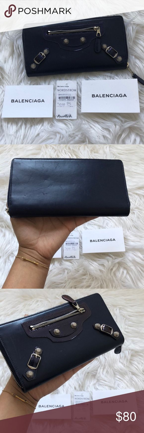 Balenciaga wallet used condition. price reflects. authentic. selling as is, zipper works, no rips or tears, but the smooth leather has marks from use. price negotiable! make an offer 💜💜💜 color is PURPLE💜💜💜 i uploaded new pictures of wallet; please see the listing! Balenciaga Bags Wallets
