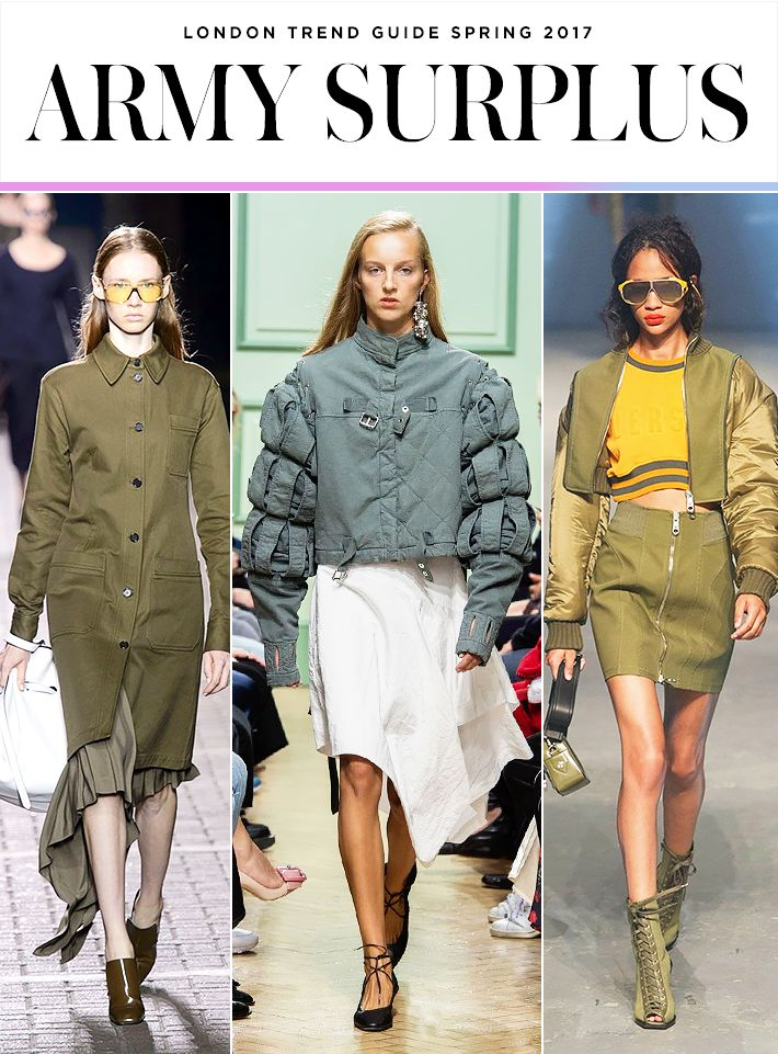 The 5 Biggest Trends from London Fashion Week Spring 2017 | military-inspired looks seen at Mulberry; J.W. Anderson; Versus Versace