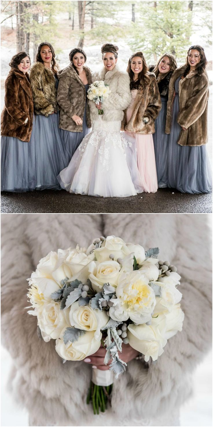 winter wonderland wedding south africa%0A Winter wedding style  bridesmaids fashion  fur coats  brunia  u     white rose  bouquet