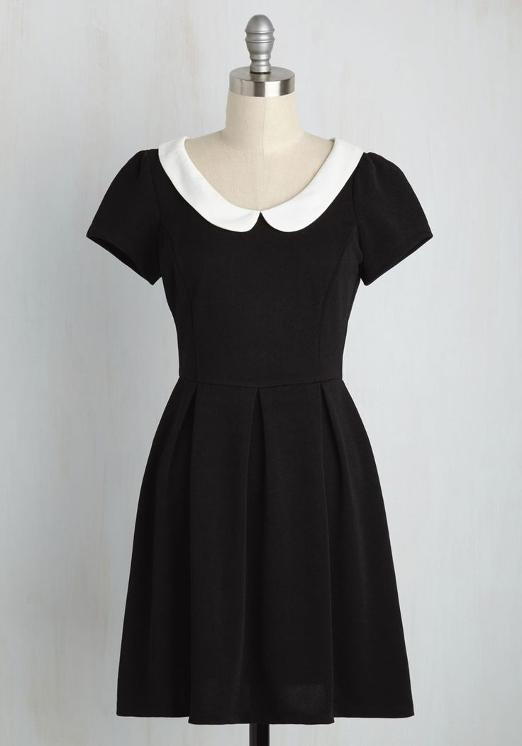Record Time Dress in Black - Black, Solid, Peter Pan Collar, Casual, Vintage Inspired, A-line, Short Sleeves, Exposed zipper, White, 60s, Variation, Best Seller, 90s, Good, 4th of July Sale, Top Rated, Knit, Gals, Halloween, Fall, Winter, Work, Short, Best Seller, Scholastic/Collegiate, Minimal, Darling, Spring, Summer