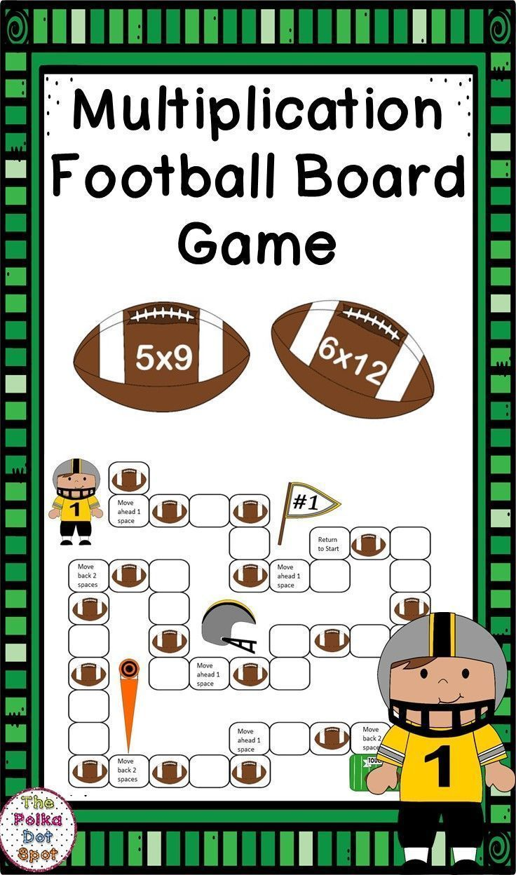 Multiplication Facts Football Board Game Elementary Math Games