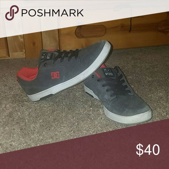 DC Nyjah Skate Shoes Grey and Red Nyjah Huston signature shoe with heel impact no tears barely worn Suede  NEGOTIABLE  MAKE OFFER DC Shoes Sneakers