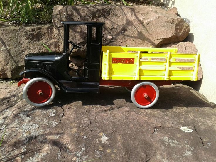 Antique 1920's Buddy L Baggage Truck Pressed Steel Toy professionally restrored