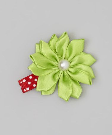 Take a look at this Green Flower Pearl Satin Clip by Snuggle Bug Kidz on #zulily today!